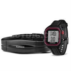 Forerunner 25 GPS Fitness Watch with Heart Rate Monitor - Large - Black/Red