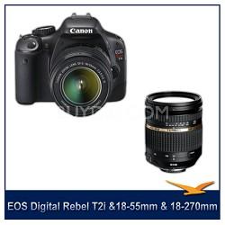 EOS Digital Rebel T2i w/18-55 IS Lens Kit & Tamron 18-270  VC