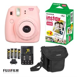 Instax Mini 8 Instant Film Color Camera in Pink Ultimate Bundle