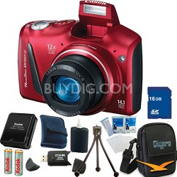 Powershot SX150 IS 14MP 12x Zoom Red Digital Camera 16GB Bundle