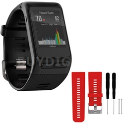 vivoactive HR GPS Smartwatch  XL Fit - Black w/ Silicone Band Strap + Tools Red