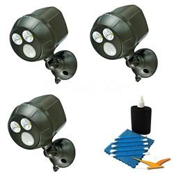 300-Lumen Wireless Battery Powered LED Ultra Bright Spotlight 3-Pack (Black)