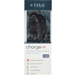 Charge HR Wireless Activity Wristband, Black, Large - OPEN BOX