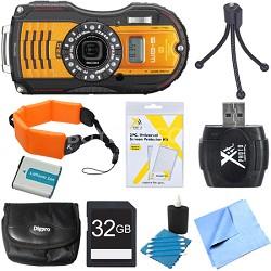WG-5 GPS 16MP Digital Camera Orange 32GB Bundle