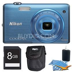 COOLPIX S5200 16 MP Built-In Wi-Fi Digital Camera - Blue Plus 8GB Memory Kit