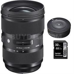 24-35mm F2 DG HSM Standard-Zoom Lens for Canon EF Cameras w/ USB Dock Kit