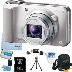 Cyber-shot DSC-HX10V (Silver) 18.2 MP 16x Zoom 3D Sweep HD Video 16GB Bundle