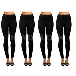 4-Pack Women's Fleece Lined Full Length Leggings Black - One Size