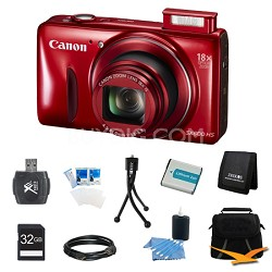 PowerShot SX600 HS 16.1MP 18x Zoom 3-inch LCD Red Ultimate Bundle