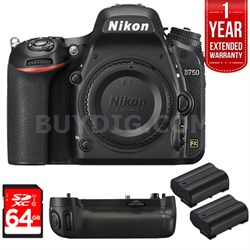 D750 DSLR 24.3MP HD 1080p FX-Format Digital Camera 16 GB Bundle