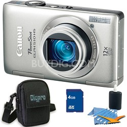 PowerShot ELPH 510 HS Silver Digital Camera 4GB Bundle