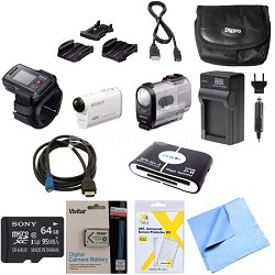 FDR-X1000VR/W 4K Action Cam and LiveView Remote Kit 64GB Bundle