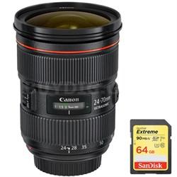 EF 24-70mm f/2.8L II USM Lens w/ Sandisk 64GB Extreme SD Memory Card