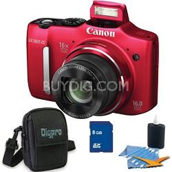 Powershot SX160 IS 16MP 16x Zoom Red Digital Camera 8GB Bundle