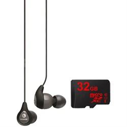 SE112 Sound Isolating Earphone w/ Single Dynamic MicroDriver & 32GB MicroSD Card
