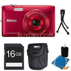 COOLPIX S3500 Red Digital Camera 16GB Bundle