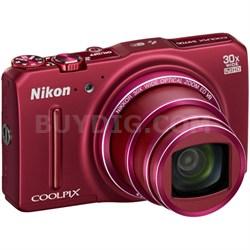 COOLPIX S9700 16MP HD 1080p 30x Opt Zoom Digital Camera - Red - REFURBISHED