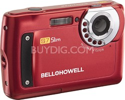 "S7 IR Night Vision Slim 12.2 MP Red Digital Camera w/ 5X Zoom, 2.7"" LCD"