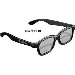 Black Natural Passive 3D Glasses Party Pack (10 glasses)