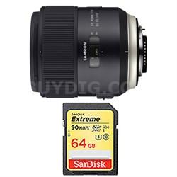 SP 45mm f/1.8 Di VC USD Lens and 64GB Card Bundle