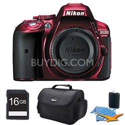 D5300 DX-Format Digital 24.2MP SLR Body (Red) Plus 16 GB Memory Bundle