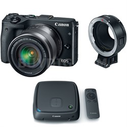EOS M3 Mirrorless Digital Camera w/ EF-M 18-55mm Lens + 1TB CS100 Storage Hub