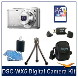 Cyber-shot DSC-WX5 Digital Camera (Silver) 8GB Card, Case, and more