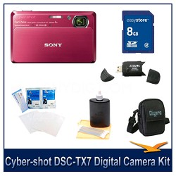 """Cyber-shot DSC-TX7 10.2 MP Camera w/ 3.5"""" Touch LCD (Red) with 8GB Case, More"""