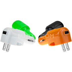 USB AC and DC Car and Wall Charger (Black)