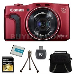 PowerShot SX700 HS 16.1MP HD 1080p Digital Camera Red 32GB Kit