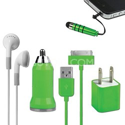 5-in-1 Travel Kit for iPhone 4/4S and 4th Generation iPods - Green