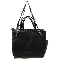 Quilted Coco Tote with Chain Handle and Detail Zipper in Black