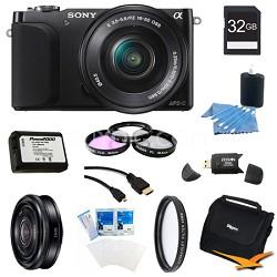 NEX-3NL Black Digital Camera 16-50mm Lens 32GB 20mm f/2.8 Lens Bundle