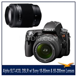Alpha SLT-A33L 14.2 MP DSLR w/ Sony 18-55mm & 55-200mm f4-5.6 Tele Zoom Lens