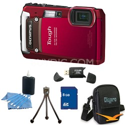8GB Kit Tough TG-820 iHS 12MP Water/Shock/Freezeproof Digital Camera - Red