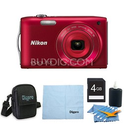 COOLPIX S3300 16MP 6x Opt Zoom 2.7 LCD 4GB Red Bundle