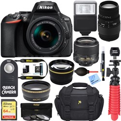 D5600 DSLR Camera w/ AF-P 18-55mm + 70-300mm SLD DG Lens Accessory Bundle
