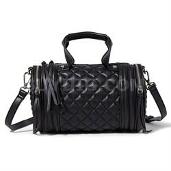 PEYTON Quilted Barrel Bag - Black
