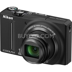 COOLPIX S9100 12MP Black Digital Camera w/ 18x Optical Zoom
