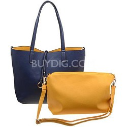 Modern Leather Inspired Tote Blue Handbag with Added Mini-Yellow Tote