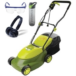"Mow Joe 14"" 12-Amp Electric Lawn Mower w/ Grass Catcher & Accessories Bundle"