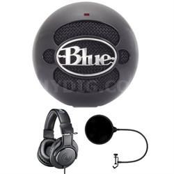 Snowball USB Microphone Gloss Black w/ Headphone Bundle