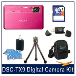 Cyber-shot DSC-TX9 Digital Camera (Red) with 8GB Card, Case, and More