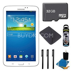 Samsung Galaxy Tab 3 (7-Inch, White) + 32GB Micro SD Card + More