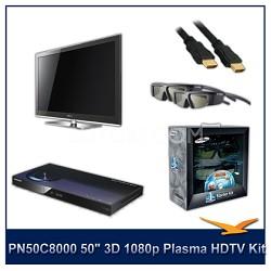 "PN50C8000 - 50"" 3D 1080p Plasma HDTV Kit w/ 4 3D Glasses and Blu-Ray Player"