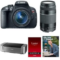 Canon T5i DSLR w/ 18-55mm + 75-300mm Lens + Pro-100 Printer + Adobe LR5
