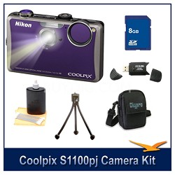 COOLPIX S1100pj Violet Digital Camera Kit w/ 8 GB Memory, Reader, Tripod, & More