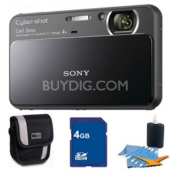 Cyber-shot DSC-T110 Black Touchscreen Digital Camera 4GB Bundle