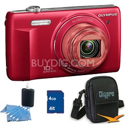 4 GB Kit VR-340 16MP 10x Opt Zoom 3-inch LCD Digital Camera - Red