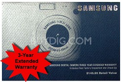 3 Year Extended Warranty on Samsung Digital Cameras